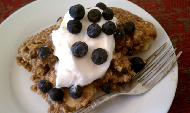 Baked Oatmeal Casserole with Oikos Yogurt and Blueberries