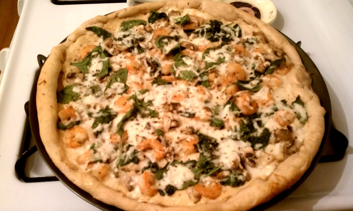 Shrimp Pizza with Spinach, Basil, and Mushrooms