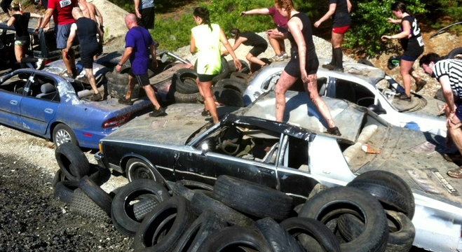 Warrior Dash:  Car Hopping