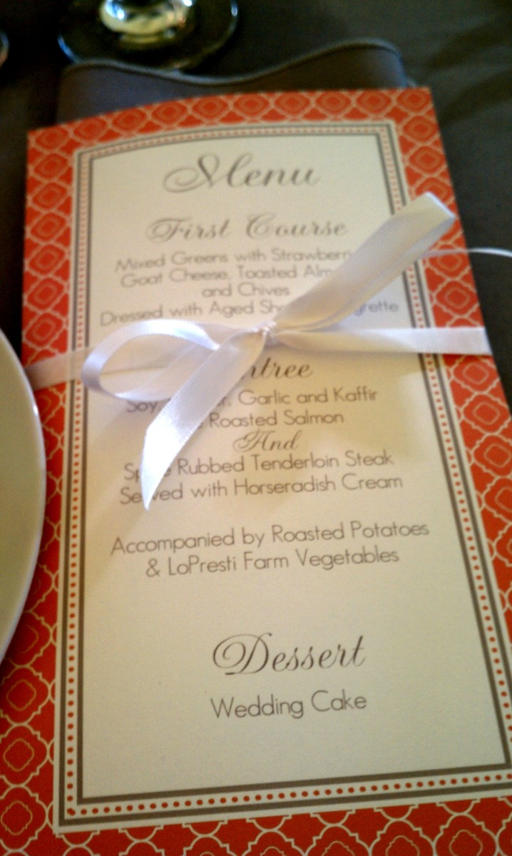 Steph & Brett's Wedding:  Dinner Menu