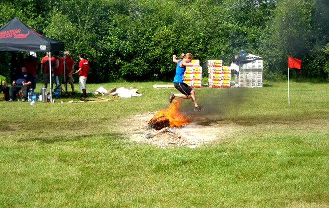 Warrior Dash:  Leaping Over Fire