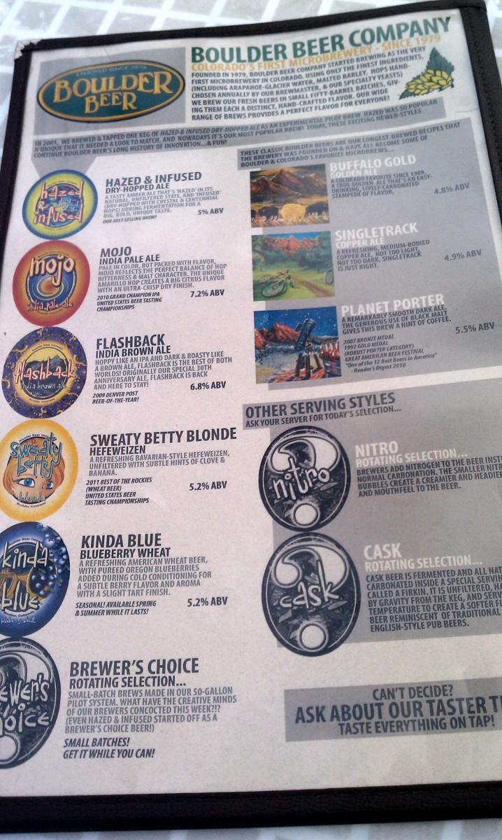 Boulder Brewing Company Beer List
