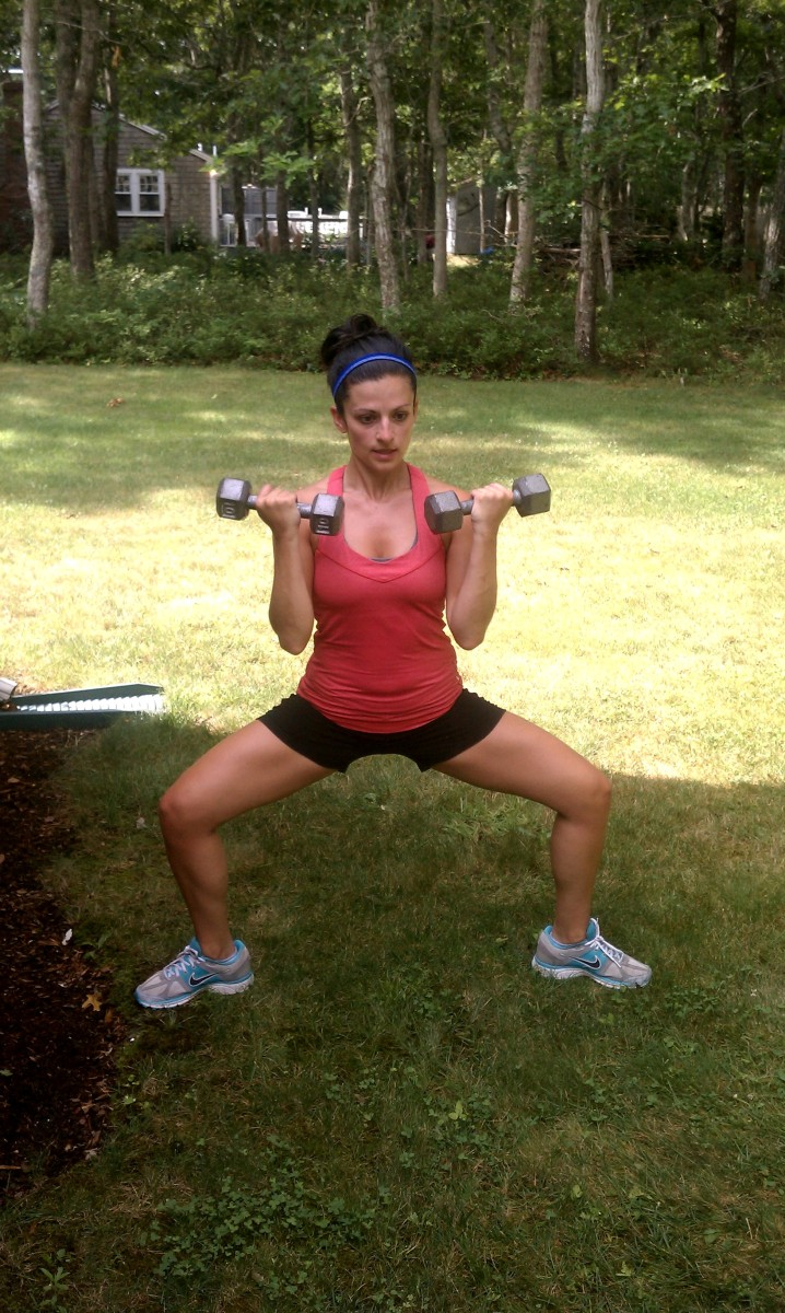 Plie Squat and Bicep Curl, Plus Upright Row