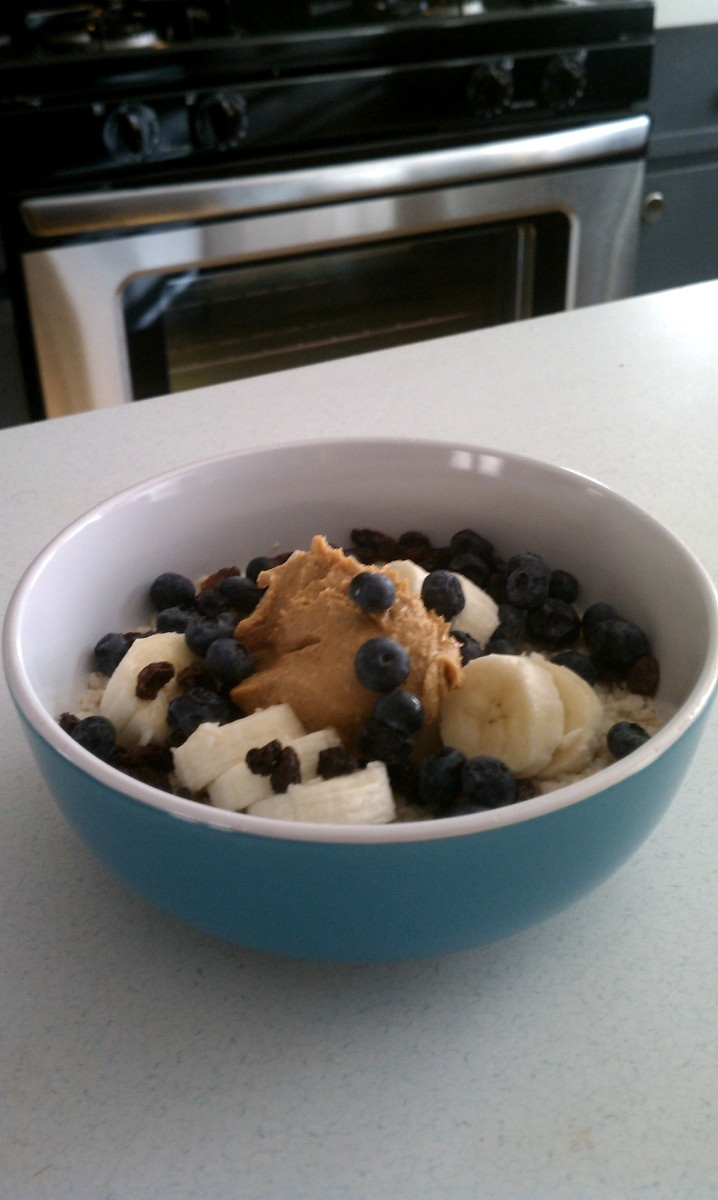 Oatmeal in teal Target bowls