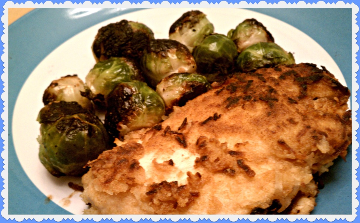 coconut chicken and brussel sprouts