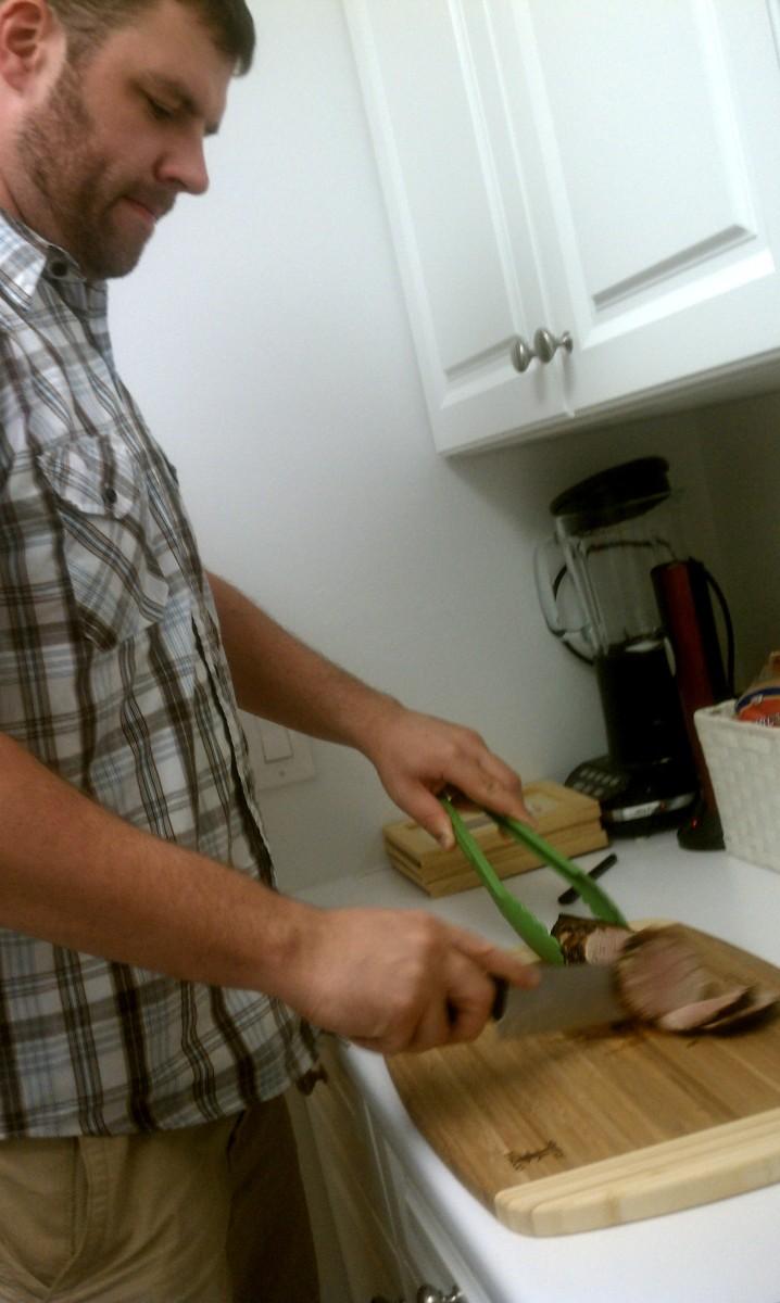 Tim prepping the pork