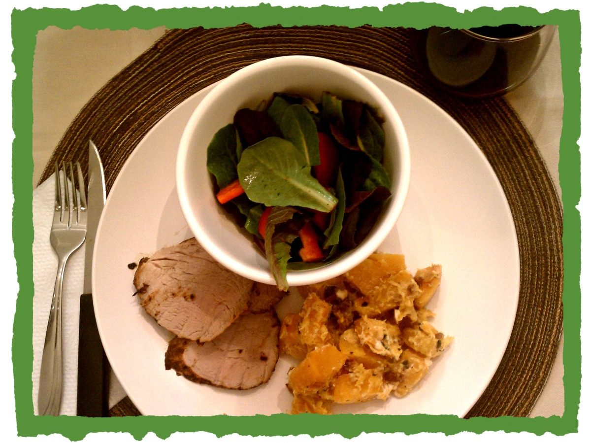 pork tenderloin + butternut squash + salad