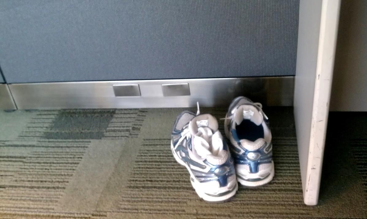 sneakers under desk