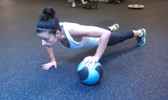Move of the Week:  Alternating Medicine Ball Pushups