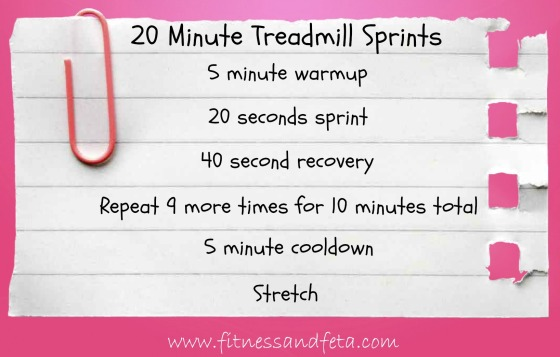 20 minute treadmill sprints