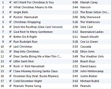 Holiday Workout Playlist 2012
