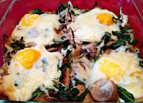 Mushroom Spinach Baked Egg Casserole