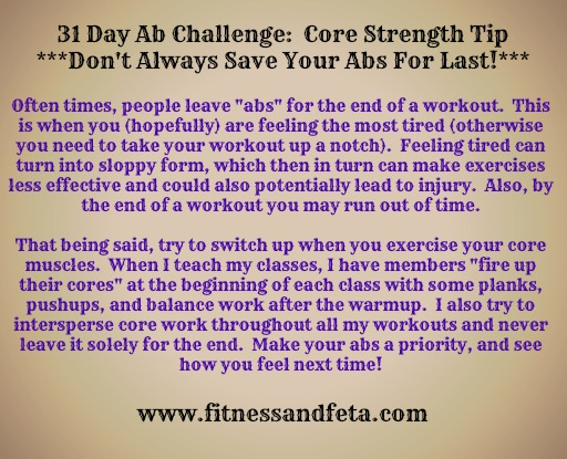 31 day abs challenge:  core strength tip