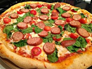 Chicken Sausage, Spinach, and Garlic Pizza