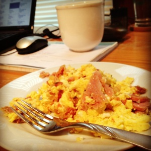 Scrambled Eggs with Ham and Salsa