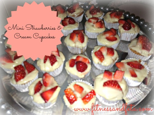 Mini Strawberries and Cream Cupcakes