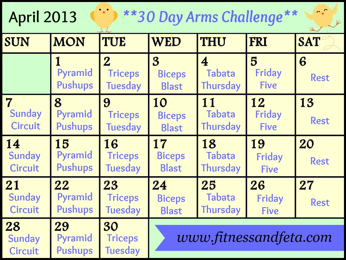 30 day april arms challenge fitness amp feta