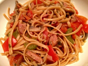 Chicken Sausage Linguine with Mushrooms