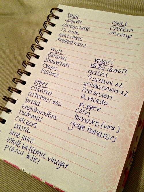 grocery list week of 4/28