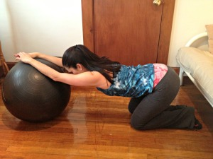 Kneeling Stability Ball Stretch