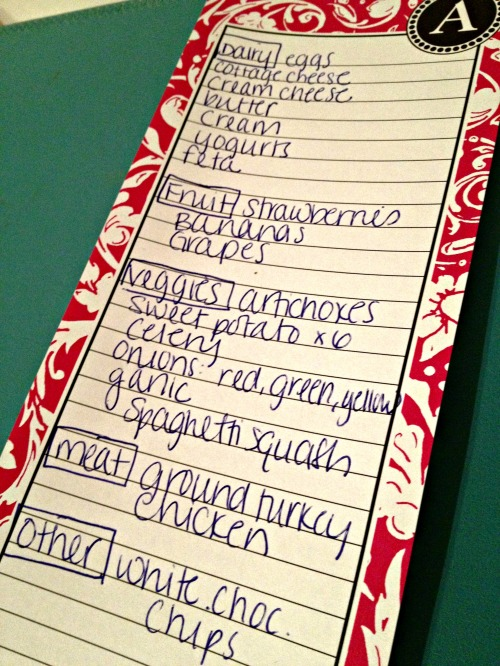 Grocery List 4/14