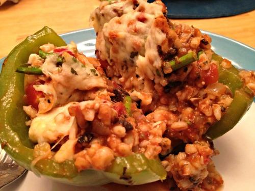 Barley and veggie stuffed peppers