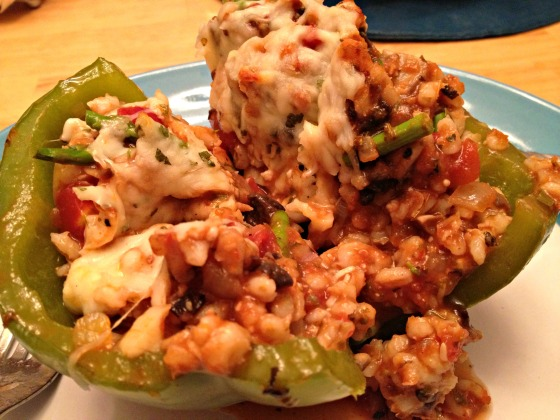 Barley and veggie stuffed peppers