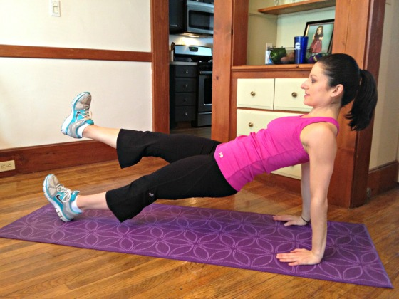 Reverse plank with alternating leg lifts