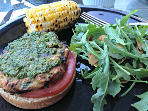 Grilled Chicken Pesto Burgers