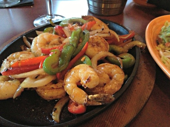 Shrimp and veggie fajitas