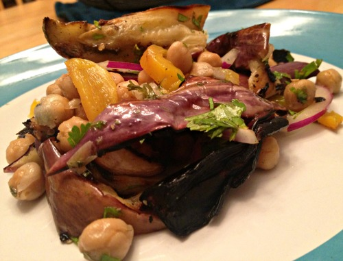 Grilled eggplant and chickpea salad