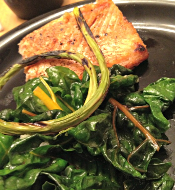 Grilled Salmon and Swiss Chard