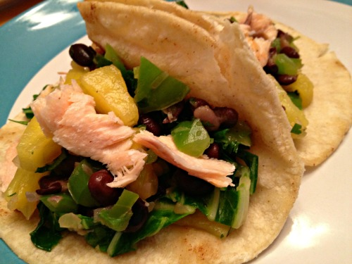 Bok Choy and Pineapple Tacos