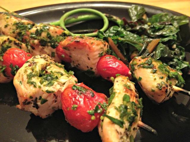 Chicken Pesto and Tomato Kabobs