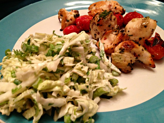 Pesto Chicken with Cabbage and Fennel Slaw