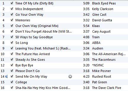 Ali's Goodbye Playlist