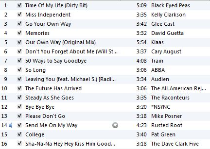 Ali's Goodbye Playlist