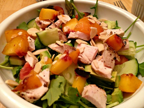Grilled Chicken and Grilled Peach Salad