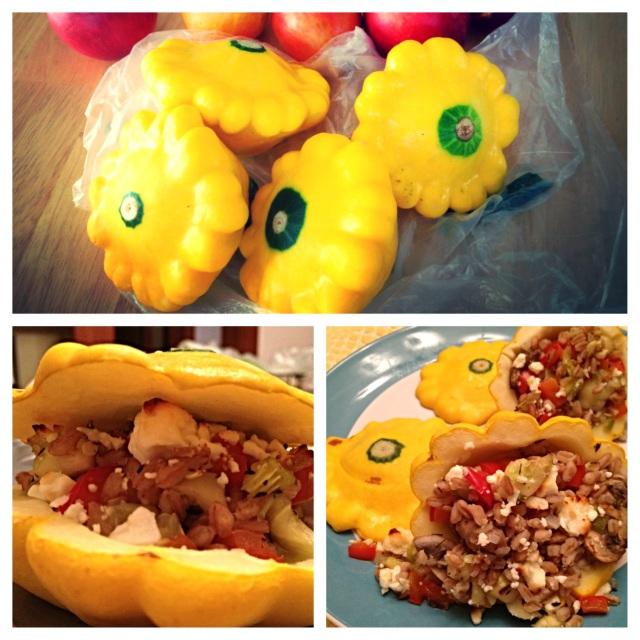 Farro & Veggie Stuffed Pattypan Squash