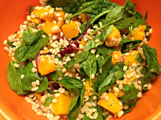 Barley and Butternut Squash Spinach Salad