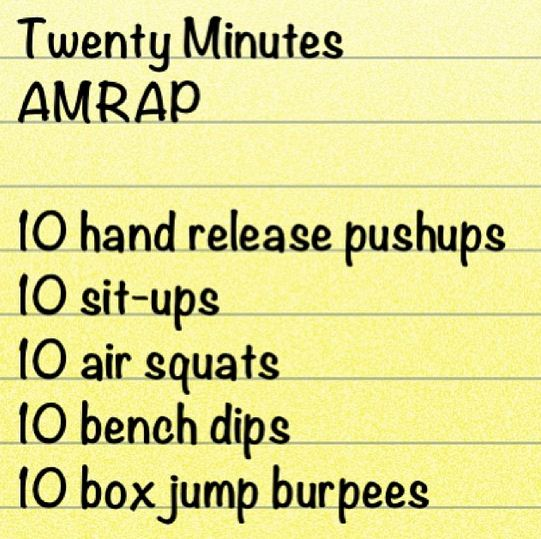 20 minute AMRAP workout
