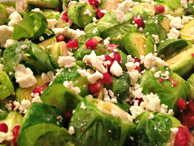 Brussels Sprouts with Pomegranates and Feta