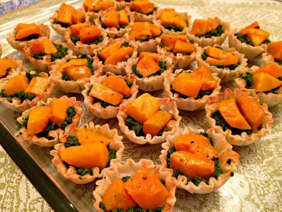 Squash Tartlets with Kale Pesto