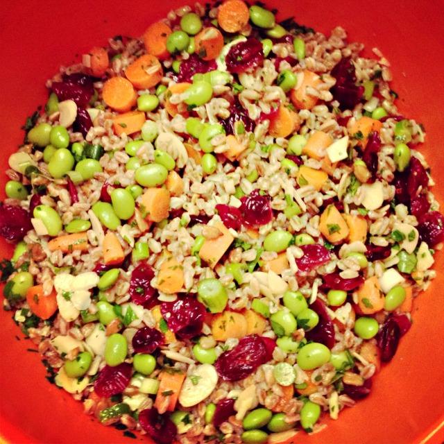 Colorful farro and edamame salad