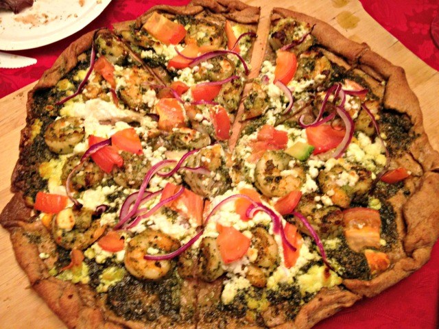 Shrimp Pesto Pizza
