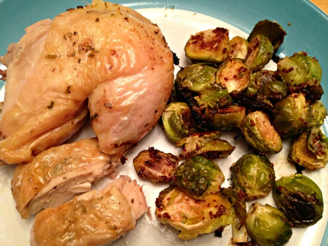 Roasted chicken and Brussels sprouts