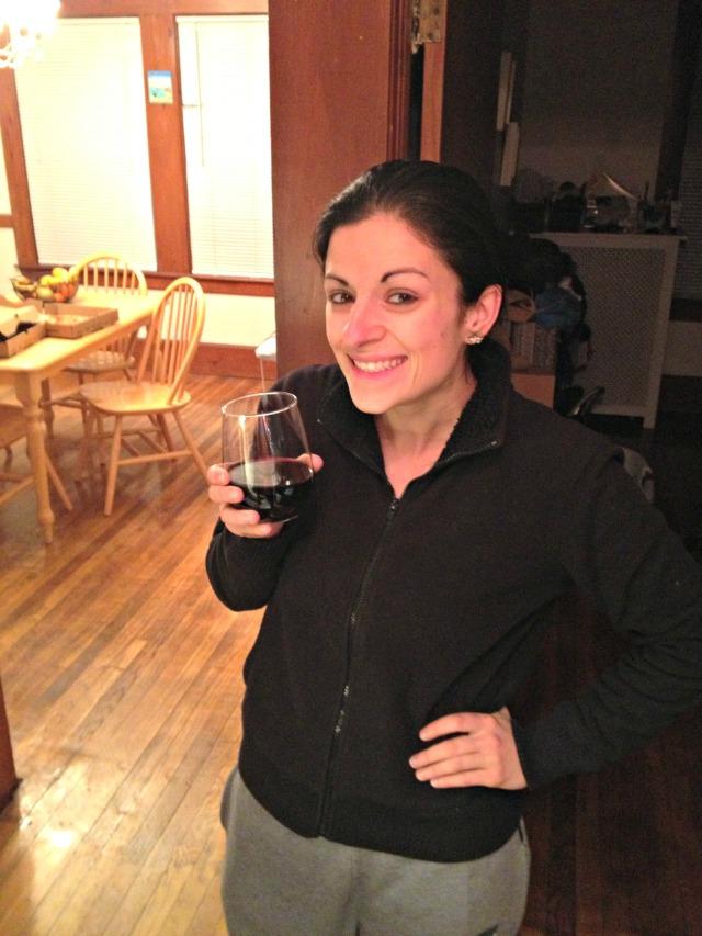 Snowy night in + wine