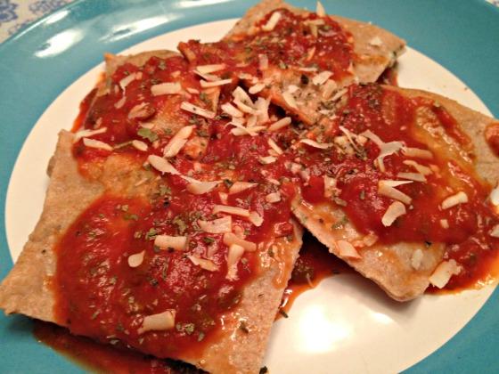 Spinach and pasta ravioli