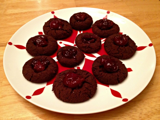 Chocolate Thumbprint Cookies with Cherry Filling