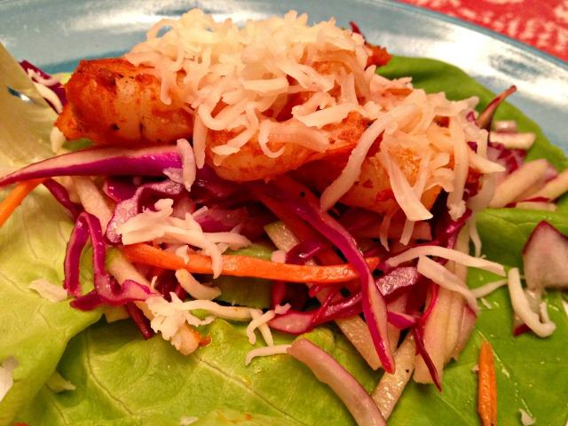 Shrimp Lettuce Wraps with Green Apple Slaw